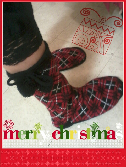 * rockin' my favorite christmas present! my slipper boots from the best nephew in the world! <3 THANK YOU!